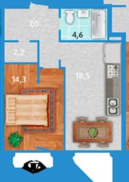 Планировка Однокомнатная квартира площадью 47.7 кв.м в ЖК «Полар Южный»