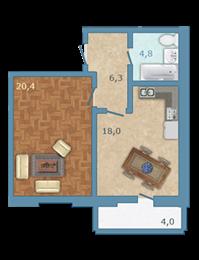 Планировка Однокомнатная квартира площадью 50.6 кв.м в ЖК «Полар Южный»