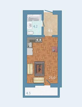 Планировка Студия площадью 31.1 кв.м в ЖК «Полар Южный»