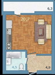 Планировка Студия площадью 32.1 кв.м в ЖК «Полар Южный»