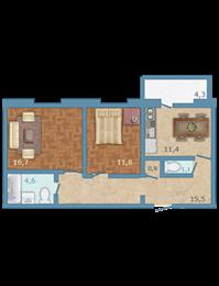 Планировка Двухкомнатная квартира площадью 63 кв.м в ЖК «Полар Южный»