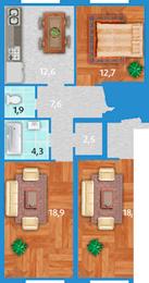 Планировка Двухкомнатная квартира площадью 60.5 кв.м в ЖК «Полар Южный»