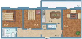Планировка Трёхкомнатная квартира площадью 85 кв.м в ЖК «Полар Южный»