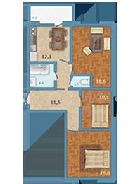 Планировка Трёхкомнатная квартира площадью 78 кв.м в ЖК «Полар Южный»